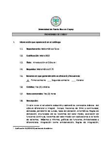 Universidad de Puerto Rico en Cayey PRONTUARIO DE CURSO 1