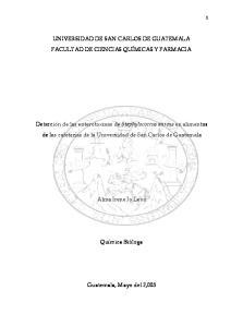 UNIVERSIDAD DE SAN CARLOS DE GUATEMALA FACULTAD DE CIENCIAS QUÍMICAS Y FARMACIA