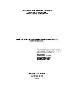 UNIVERSIDAD DE SANTIAGO DE CHILE FACULTAD DE INGENIERIA DEPARTAMENTO DE INGENIERIA