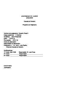 UNIVERSIDAD DEL CARIBE UNICARIBE. Escuela de Derecho. Programa de Asignatura