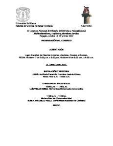 Universidad del Cauca Facultad de Ciencias Humanas y Sociales