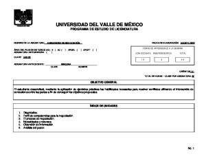 UNIVERSIDAD DEL VALLE DE MÉXICO PROGRAMA DE ESTUDIO DE LICENCIATURA