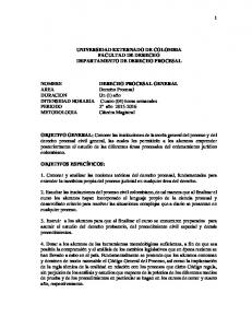 UNIVERSIDAD EXTERNADO DE COLOMBIA FACULTAD DE DERECHO DEPARTAMENTO DE DERECHO PROCESAL. DERECHO PROCESAL GENERAL Derecho Procesal