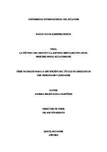 UNIVERSIDAD INTERNACIONAL DEL ECUADOR FACULTAD DE JURISPRUDENCIA
