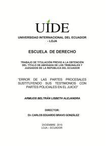 UNIVERSIDAD INTERNACIONAL DEL ECUADOR - LOJA ESCUELA DE DERECHO