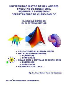 UNIVERSIDAD MAYOR DE SAN ANDRÉS FACULTAD DE INGENIERIA INGENIERIA INDUSTRIAL DEPARTAMENTO DE CURSO BÁSICO