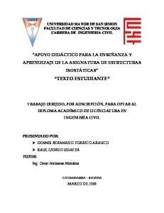 UNIVERSIDAD MAYOR DE SAN SIMON FACULTAD DE CIENCIAS Y TECNOLOGIA CARRERA DE INGENIERIA CIVIL
