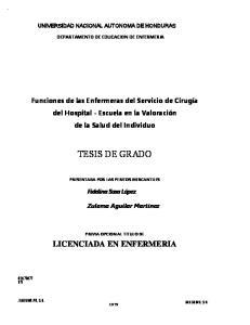 UNIVERSIDAD NACIONAL AUTONOMA DE HONDURAS DEPARTAMENTO DE EDUCACION DE ENFERMERIA
