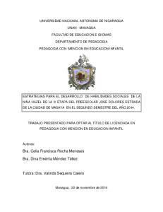 UNIVERSIDAD NACIONAL AUTONOMA DE NICARAGUA UNAN - MANAGUA FACULTAD DE EDUCACION E IDIOMAS DEPARTAMENTO DE PEDAGOGIA