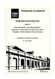UNIVERSIDAD NACIONAL DE AVELLANEDA -UNDAV- PROGRAMA DE INGRESO