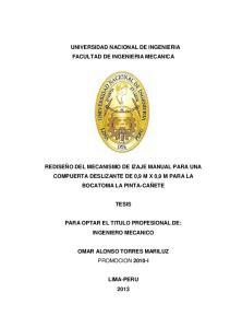 UNIVERSIDAD NACIONAL DE INGENIERIA FACULTAD DE INGENIERIA MECANICA