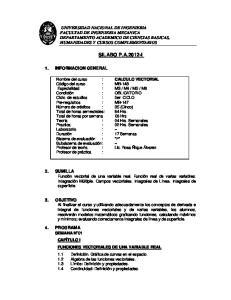 UNIVERSIDAD NACIONAL DE INGENIERIA FACULTAD DE INGENIERIA MECANICA DEPARTAMENTO ACADEMICO DE CIENCIAS BASICAS, HUMANIDADES Y CURSOS COMPLEMENTARIOS