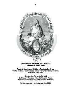 UNIVERSIDAD NACIONAL DE LA PLATA Facultad de Bellas Artes