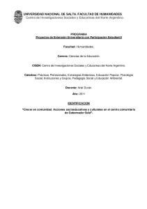 UNIVERSIDAD NACIONAL DE SALTA. FACULTAD DE HUMANIDADES Centro de Investigaciones Sociales y Educativas del Norte Argentino
