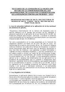 UNIVERSIDAD NACIONAL DE SALTA, MULTISECTORIAL DE MUJERES DE SALTA, CLADEM - SALTA, RED PAR SALTA y FUNIF FILIAL SALTA