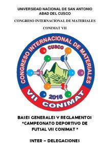 UNIVERSIDAD NACIONAL DE SAN ANTONIO ABAD DEL CUSCO CONGRESO INTERNACIONAL DE MATERIALES CONIMAT VII