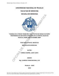 UNIVERSIDAD NACIONAL DE TRUJILLO FACULTAD DE MEDICINA ESCUELA DE MEDICINA