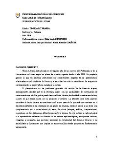 UNIVERSIDAD NACIONAL DEL NORDESTE FACULTAD DE HUMANIDADES DEPARTAMENTO DE LETRAS