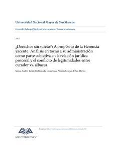 Universidad Nacional Mayor de San Marcos. From the SelectedWorks of Marco Andrei Torres Maldonado