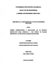 UNIVERSIDAD POLITECNICA SALESIANA FACULTAD DE INGENIERIAS CARRERA DE INGENIERIA MECANICA
