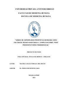 UNIVERSIDAD PRIVADA ANTENOR ORREGO FACULTAD DE MEDICINA HUMANA ESCUELA DE MEDICINA HUMANA