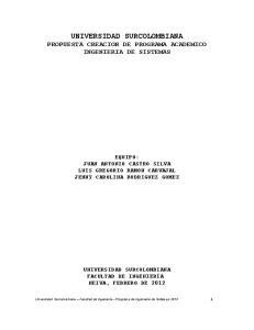 UNIVERSIDAD SURCOLOMBIANA PROPUESTA CREACION DE PROGRAMA ACADEMICO INGENIERIA DE SISTEMAS