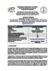 UNIVERSIDAD TECNOLÓGICA DE PEREIRA FACULTAD CIENCIAS DE LA SALUD PROGRAMA DE MEDICINA