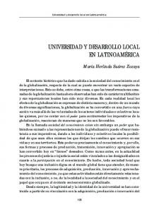 UNIVERSIDAD Y DESARROLLO LOCAL EN LATINOAMÉRICA