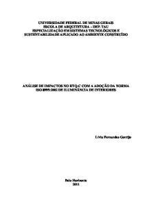 UNIVERSIDADE FEDERAL DE MINAS GERAIS ESCOLA DE ARQUITETURA DEP