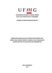 UNIVERSIDADE FEDERAL DE MINAS GERAIS ESCOLA DE ARQUITETURA E URBANISMO MARIANA EUGENIA RODRIGUES MOURA
