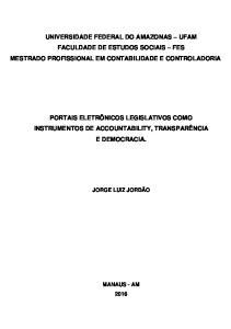 UNIVERSIDADE FEDERAL DO AMAZONAS UFAM FACULDADE DE ESTUDOS SOCIAIS FES MESTRADO PROFISSIONAL EM CONTABILIDADE E CONTROLADORIA