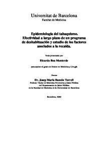 Universitat de Barcelona Facultat de Medicina