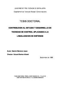 UNIVERSITAT POLITECNICA DE CATALUNYA. Departament de Teoria del Senyal i Comunicacions CONTRIBUCION AL ESTUDIO Y DESARROLLO DE