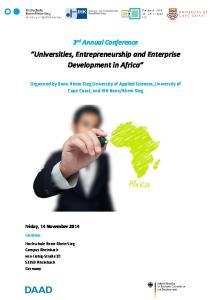 Universities, Entrepreneurship and Enterprise Development in Africa