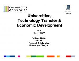 Universities, Technology Transfer & Economic Development