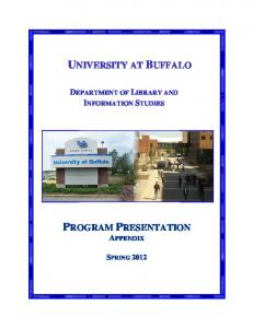 UNIVERSITY AT BUFFALO DEPARTMENT OF LIBRARY AND INFORMATION STUDIES