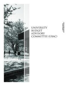 UNIVERSITY BUDGET ADVISORY COMMITTEE (UBAC)