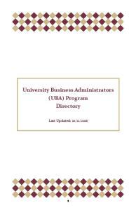 University Business Administrators (UBA) Program Directory
