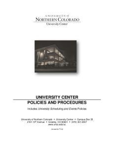 UNIVERSITY CENTER POLICIES AND PROCEDURES