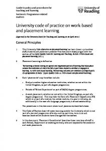 University code of practice on work-based and placement learning