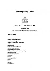 University College London FINANCIAL REGULATIONS