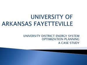 UNIVERSITY DISTRICT ENERGY SYSTEM OPTIMIZATION PLANNING A CASE STUDY