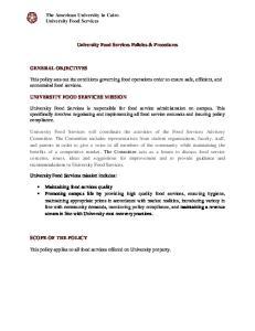 University Food Services Policies & Procedures