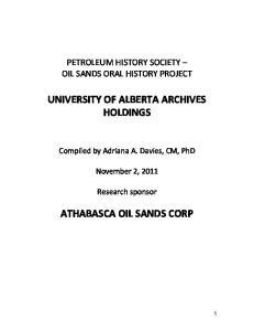UNIVERSITY OF ALBERTA ARCHIVES HOLDINGS