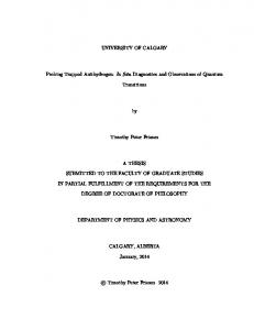 UNIVERSITY OF CALGARY. Probing Trapped Antihydrogen: In Situ Diagnostics and Observations of Quantum. Transitions. Timothy Peter Friesen A THESIS