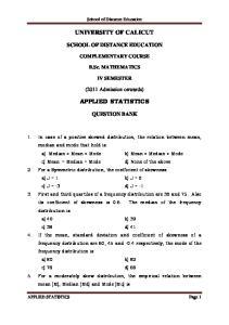 UNIVERSITY OF CALICUT APPLIED STATISTICS