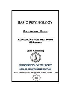 UNIVERSITY OF CALICUT SCHOOL OF DISTANCE EDUCATION Study Material
