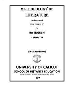 UNIVERSITY OF CALICUT SCHOOL OF DISTANCE EDUCATION CALICUT UNIVERSITY P.O. MALAPPURAM, KERALA, INDIA