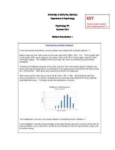 University of California, Berkeley. Department of Psychology. Psychology W1. Summer Midterm Examination 1. Scoring Key and Item Analysis