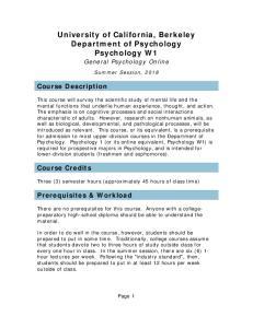 University of California, Berkeley Department of Psychology Psychology W1